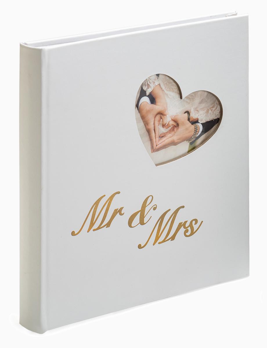 Kph Mr. & Mrs. weiß-gold 29x32 cm, Hochzeitsalbum, 60 weiße Seiten