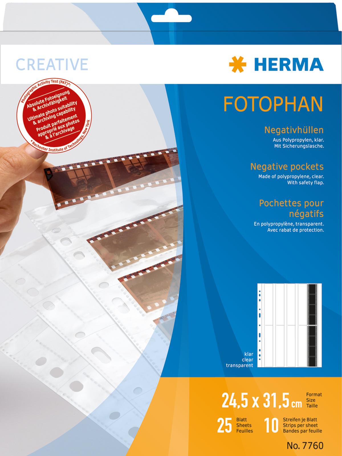 Herma Negativhüllen klar für 10x4 Kleinbild-Negative, 25+1 Blatt