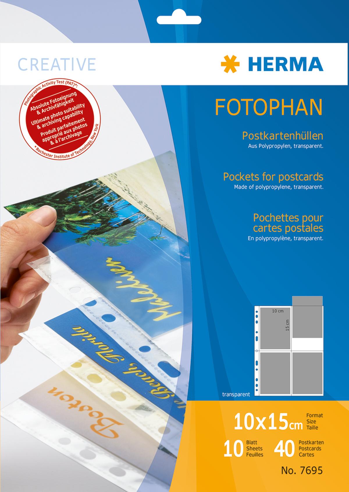 Herma Postkartenhülle für 4 Postkarten, ideal für Ringalben
