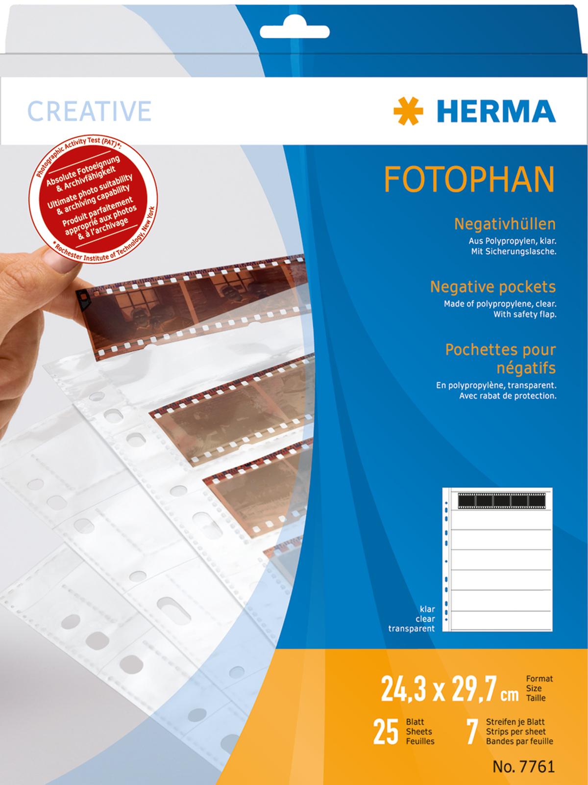 Herma Negativhüllen klar für 7x5 Kleinbild-Negative 35mm, 25+1 Blatt
