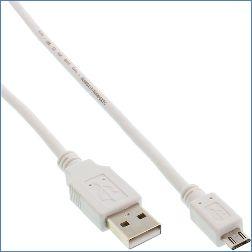 Inline Micro-USB 2.0 A an B Kabel 1 m weiß